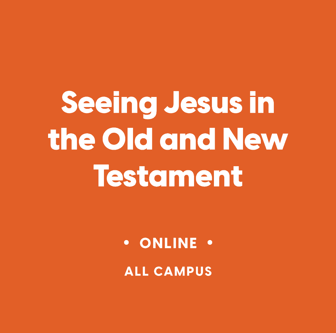 Co-Ed Online Bible Study:  Seeing Jesus in the Old and New Testament
